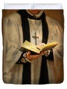 Priest With Open Bible Duvet Cover by Jill Battaglia