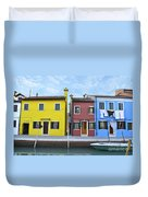 Primary Colors In Burano Italy Duvet Cover