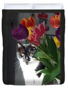 Princess The Cat And Tulips Duvet Cover