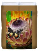 Protea With Speckled Butterfly Duvet Cover