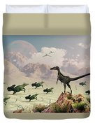 Protoceratops Stampede In Fear Duvet Cover
