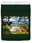 Provo Temple Pine Frame Duvet Cover