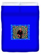 Psychedelia Within A Blue Framework Duvet Cover
