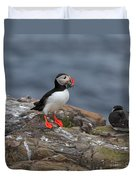Puffin With Sand Eels Duvet Cover