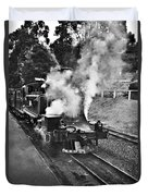 Puffing Billy Black And White Duvet Cover