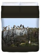 Puffins On A Cliff Edge Duvet Cover