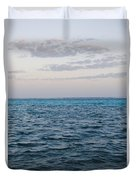Puffy Clouds On Horizon With Caribbean Duvet Cover