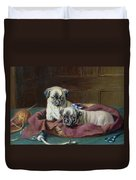 Pug Puppies In A Basket Duvet Cover