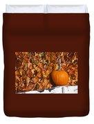 Pumpkin On White Fence Post Duvet Cover