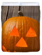 Pumpkin With Wicked Smile Duvet Cover by Garry Gay