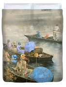 Punts On The Wey At Brooklands Duvet Cover