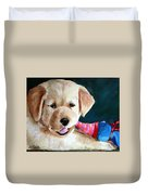 Pup And Toy Duvet Cover