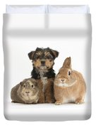 Pup, Guinea Pig And Rabbit Duvet Cover