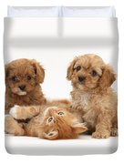 Puppies And Kitten Duvet Cover