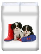 Puppies With Rain Boats Duvet Cover