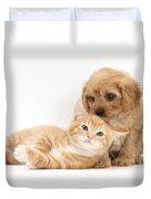 Puppy And Kitten Duvet Cover