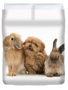 Puppy And Rabbits Duvet Cover