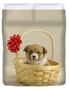 Puppy In A Basket Duvet Cover