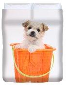 Puppy In Bucket Duvet Cover