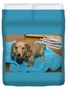 Puppy On Blue Blanket Duvet Cover