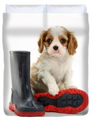 Puppy With Rain Boots Duvet Cover by Jane Burton