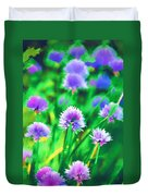Purple And Green Chive Watercolor Duvet Cover