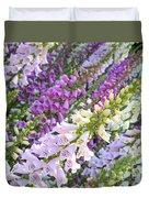 Purple And White Foxglove Square Duvet Cover