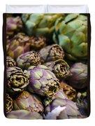 Purple Artichokes At The Market Duvet Cover