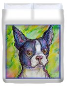 Purple Boston Terrier Duvet Cover