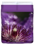 Purple Clematis And Bokeh Duvet Cover