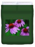 Purple Coneflower Trio Duvet Cover