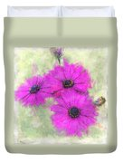 Purple Daisy Trio Watercolor Photoart Duvet Cover