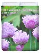 Purple Flowers In The Field Duvet Cover