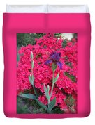 Purple Iris In Pink  Duvet Cover