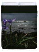 Purple Irises On Beach Duvet Cover