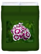 Purple On White Flowers Duvet Cover