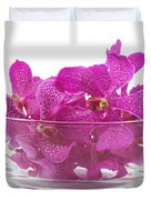 Purple Orchid In Glass Bowl Duvet Cover