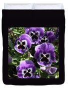 Purple Pansies Square Duvet Cover