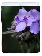 Purple Spiderwort Flowers Duvet Cover