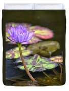 Purple Water Lilly Duvet Cover