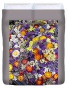 Purple Yellow Orange White Cut Flowers Duvet Cover