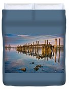 Pylons In Humboldt Bay Duvet Cover