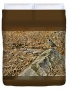 Quail On Rock Duvet Cover