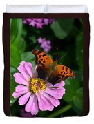 Question Mark Butterfly And Zinnia Flower Duvet Cover