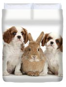 Rabbit And Puppies Duvet Cover