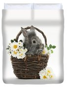 Rabbit In A Basket With Flowers Duvet Cover