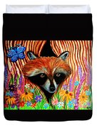 Raccoon And Butterfly Duvet Cover