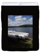 Racks Of Canoe's On Bear Pond Lake In The Adirondacks Ny Duvet Cover