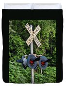Railroad Crossing Light And Greenery Duvet Cover