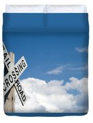 Railroad Crossing Sign Duvet Cover